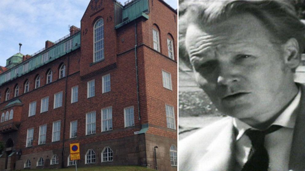 Tvådelad bild: Bild 1:Huset som ska inrymma den nya gymnasieskolan. Bild 2: Per Anders Fogelström.