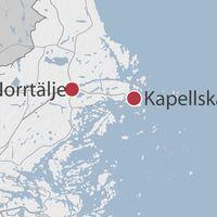 Karta med Norrtälje och Kapellskär utmärkta.