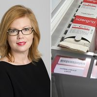 Anna Starbrink och bandageförpackningar.