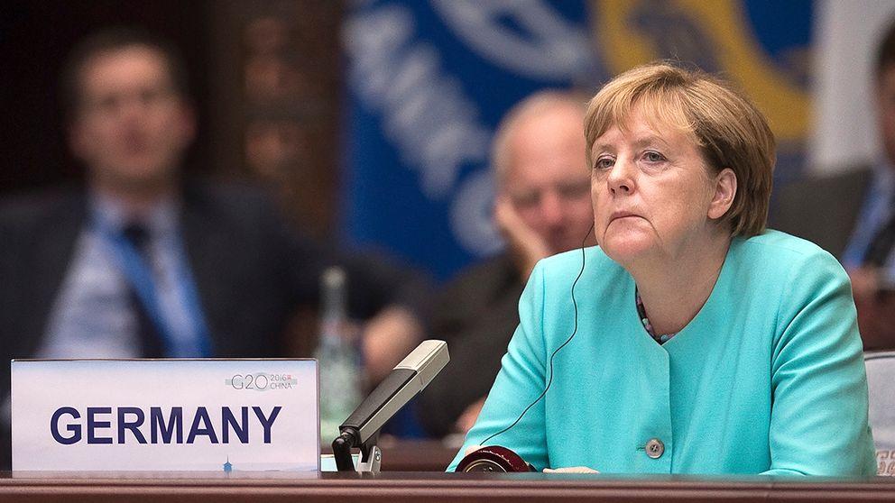 Angela Merkel på stormaktsmötet i Kina.