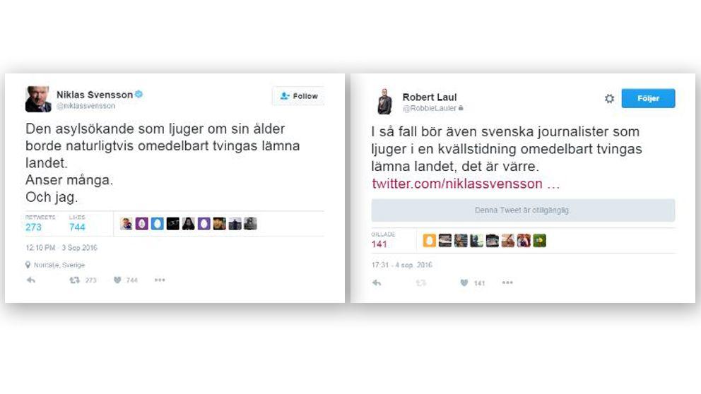 Niklas Svenssons tweet är nu borttagen från Twitter.