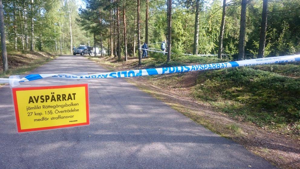 polisavspärrning vid bilväg genom skog, poliesr längre bort