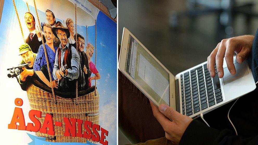 Åsa-Nisse-affisch samt en man som surfar på en dator.
