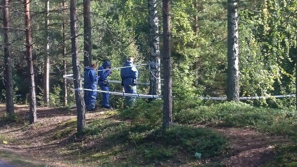 poliser i skogen vid avspärrning