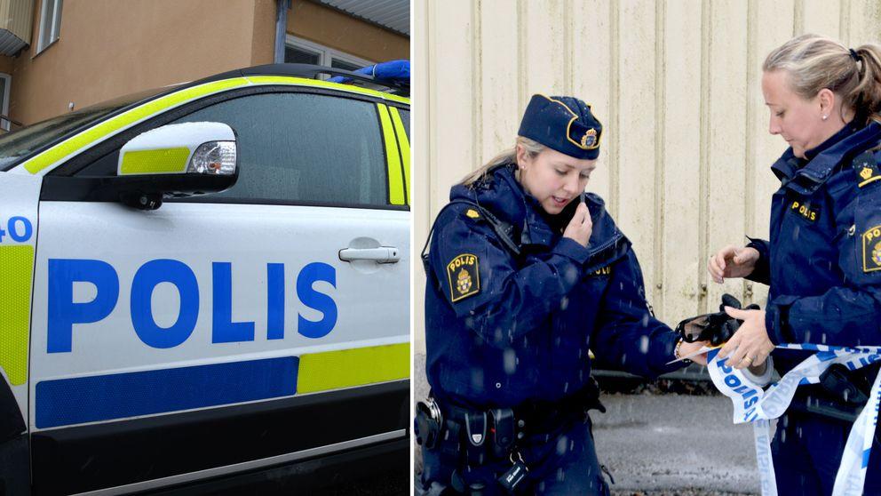 Polisbil och konstaplar med avspärrningsband