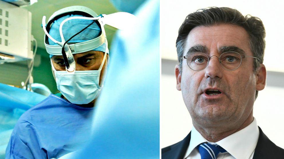 Sjukhusdirektör Melvin Samsom håller pressträff med anledning av Macchiariniaffären.