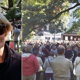 Bibi Dickmark och demonstration mot Nobel Center