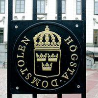 En skylt utanför Högsta Domstolen i Stockholm.