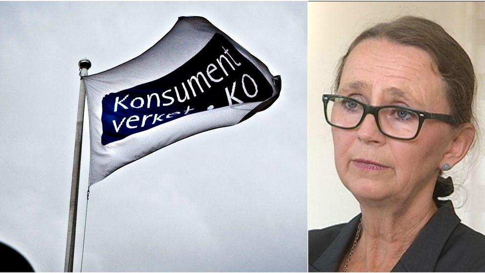 Konsumentverkets flagga, samt Cecilia Tisell