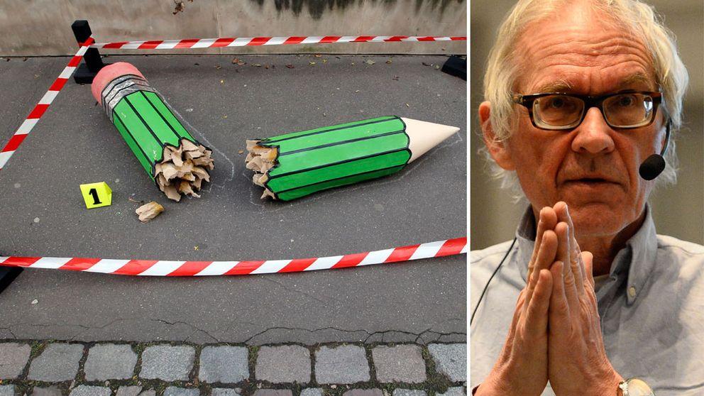 """En anonym konstinstallation nära Charlie Hebdos kontor i Paris, tisdag, Jan. 20, 2015. Lars Vilks håller en föreläsning på temat """"Charlie Hebdo och yttrandefrihetens gränser"""" på Utrikespolitiska föreningen i Karlstad."""