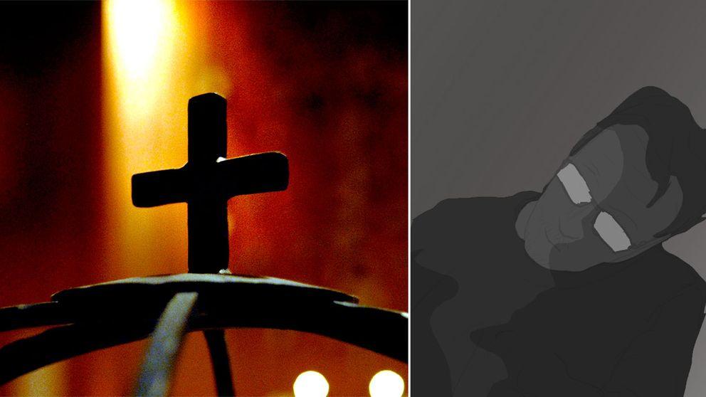 Ett kors och en illustration av en man med glasögon