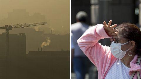Föroreningar och en kvinna med munskydd.