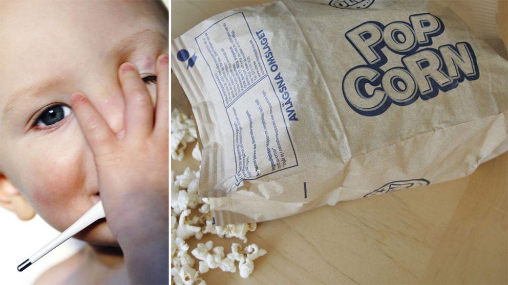 Barn med febertermometer och popcorn.