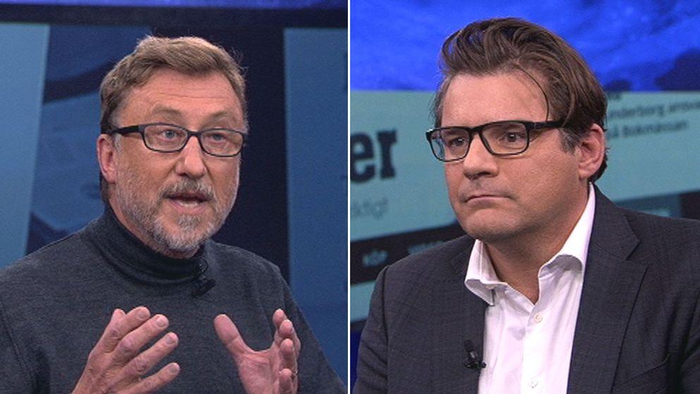 Janne Josefsson och Jan Helin i hård debatt.