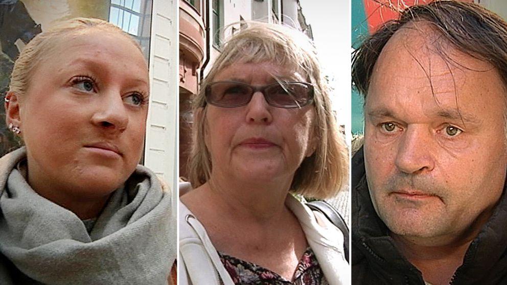 Tre personer som intervjuats av SVT om vad de tycker om landstinget.