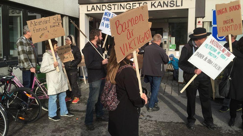 Ett 20-tal demonstranter mötte ledamöterna i Hälso- och sjukvårdsnämnden.