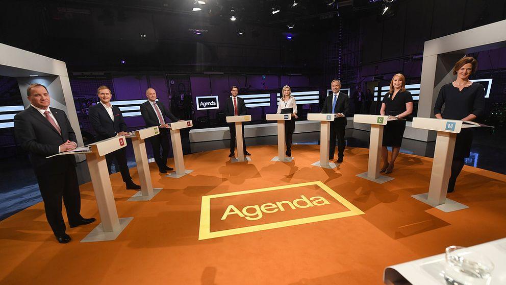 Partiledardebatt Stockholm Stockholm  Partiledarna Fran Vanster Stefan Lofven S Gustav Fridolin