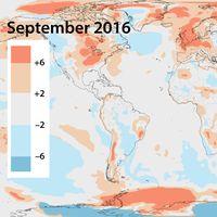 Globaltemperaturens avvikelse för september 2016 jämfört med september 1981–2010. Källa: ECMWF Copernicus Climate Change Service.