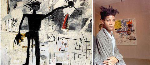 Till höger: ett självporträtt av Jean-Michel Basquiat som 1998 såldes på Christies för 3,3 miljoner dollar.