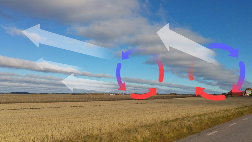 Kraftiga vindar och turbulens som ger upphov till molnen formerar sig i långa rader.
