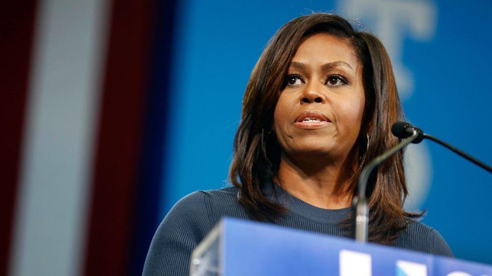Michelle Obama vid ett kampanjtal i Manchester i New Hampshire.
