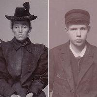 Tre svartvita fotografier av en kvinna i hatt, en ung kille i mössa och en man.