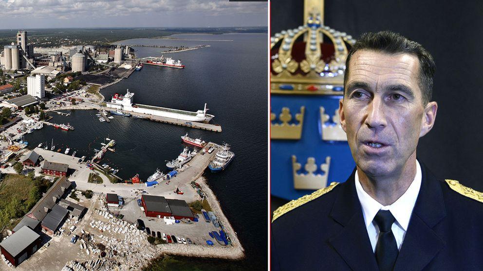 Slite hamn och ÖB Micael Bydén.