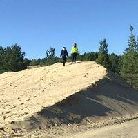 En av de färdigmodellerade sanddynerna i Sörmons sandtag.
