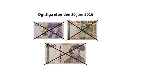 Överkryssade 20-, 50- och 1 000 kronorssedlar.