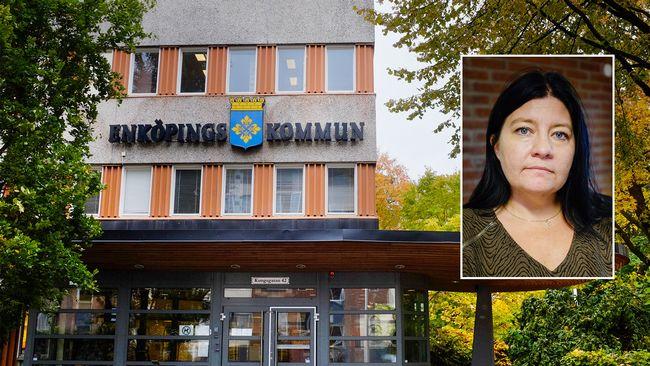 fotomontage, Enköpings kommunhus i bakgrunden och ett foto på kommunalrådet Helena Proos (S).