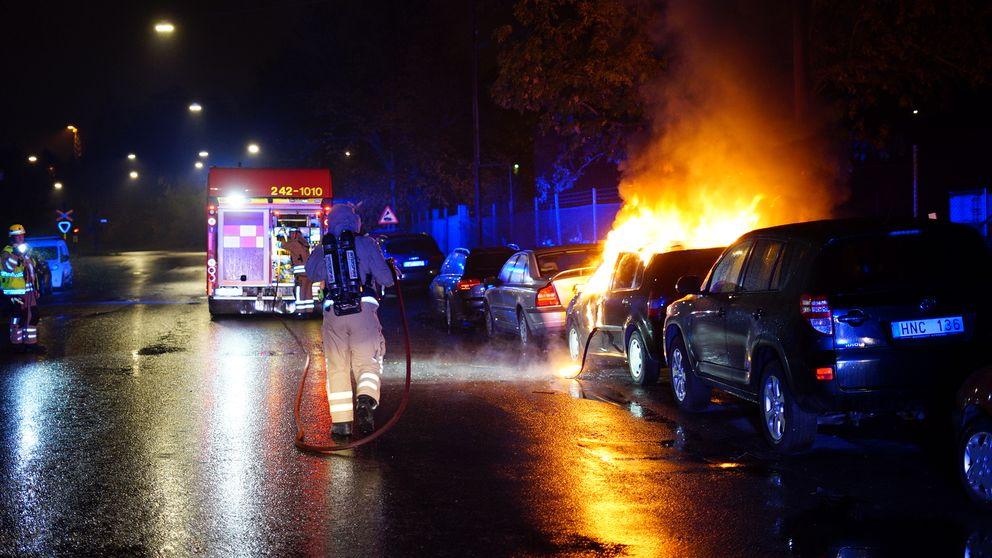 Bilbränder i Norrköping i natt