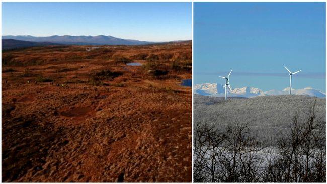 Ett bildkollage från Kopperå i Norge, nära gränsen till Storlien och en bild från en vindkraftspark utanför Kiruna.