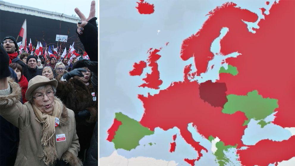 Demonstration för pressfrihet i Polen.