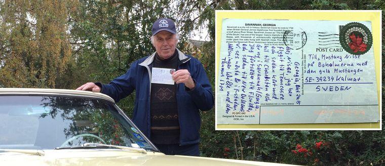 Vykortet från USA nådde Nils-Erik Krondahls brevlåda utanför Kalmar trots en något besynnerlig adress.