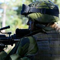 Soldat med gevär. Gotland.