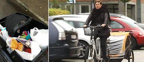 Emily Lundström på cykel och cykelvagnen full med matvaror och ett barn