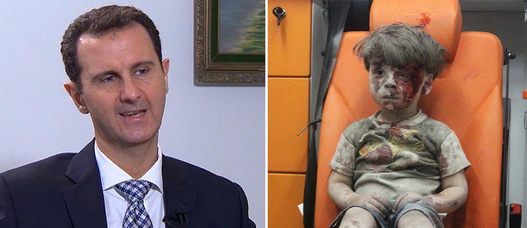 Bashar Al-Assad, Syriens president och Bilden på den lille pojken Omran Daqneesh som räddades ur rasmassorna efter ett flyganfalli Aleppo har blivit en symbol för kriget.