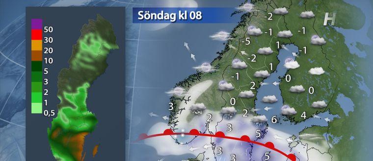 Fortsatt en del regn och blåst i söder och i västra Svealand även blötsnö. I norr mulet och bara lättare regn eller snö. Lilla kartan visar nederbörd under natten (klockan 20-08).