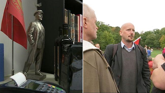 Mannen till höger Robert Mathiasson. Till vänster bokhandeln Röda stjärnan. Den lilla statyn föreställer den ryske revolutionens ledare Vladimir Lenin.