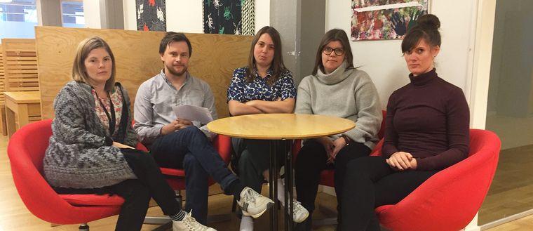 Mia Skoog, Tobbe Anliot, Maja Nordström, Emma Andersson, Moa Eriksson lärare på Internationella gymnasiet