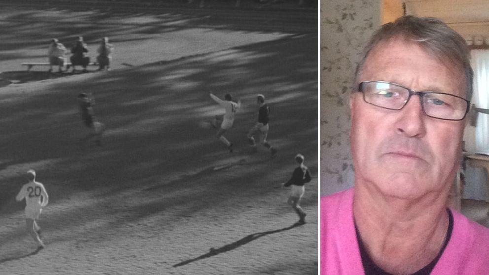 fotomontage, arkivbild från när Sirius spelade i allsvenskan på 70-talet och ett porträtt på den förra spelare Perra Hansson.
