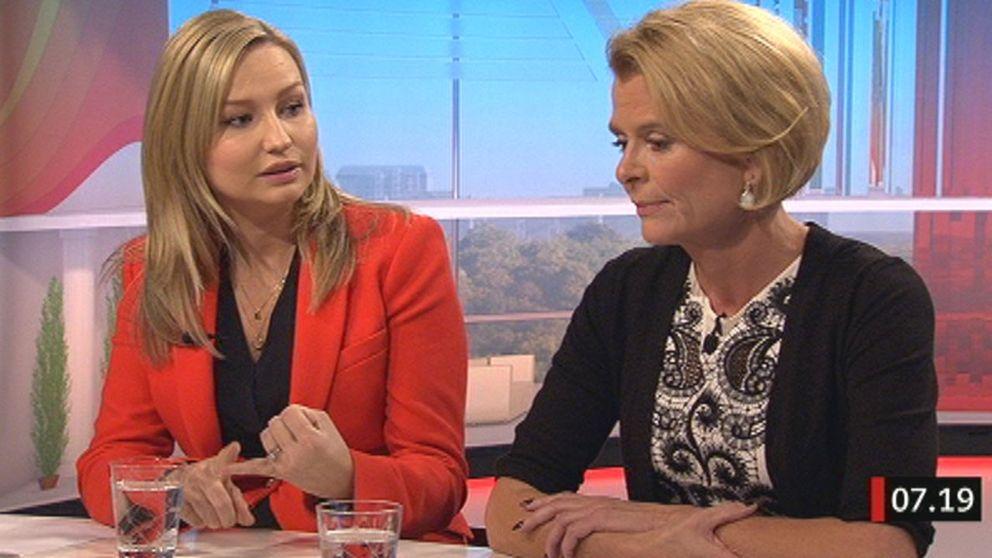 Ebba Busch Thor (KD) och barn- och äldreminister Åsa Regnér (S) debatterar assistansersättningen i SVT:s Gomorron