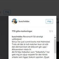 Skärmdump från Instagram, Ebbas inlägg