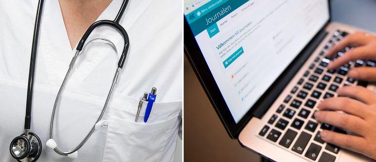 En läkare med ett stetoskop runt halsen och någon som läser patientjournaler på en dator.