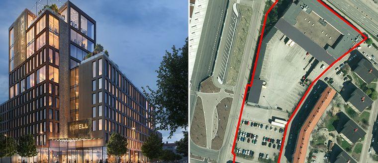 Enligt detaljplanen förväntas hotellet bli 45 meter högt.