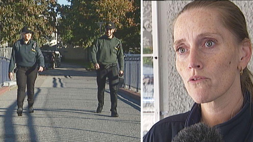 Väktare och Monica Åberg i montage
