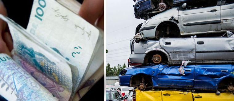 Pengar och bilskrot i montage