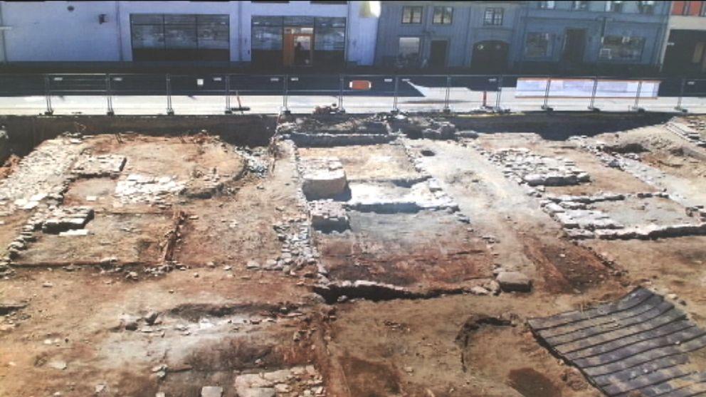Bild från arkeologiska utgrävningarna av kvarteret Gesällen på Kvarnholmen i centrala Kalmar.