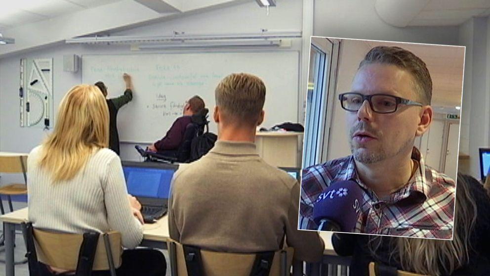Klassrum på skola i Emmaboda.