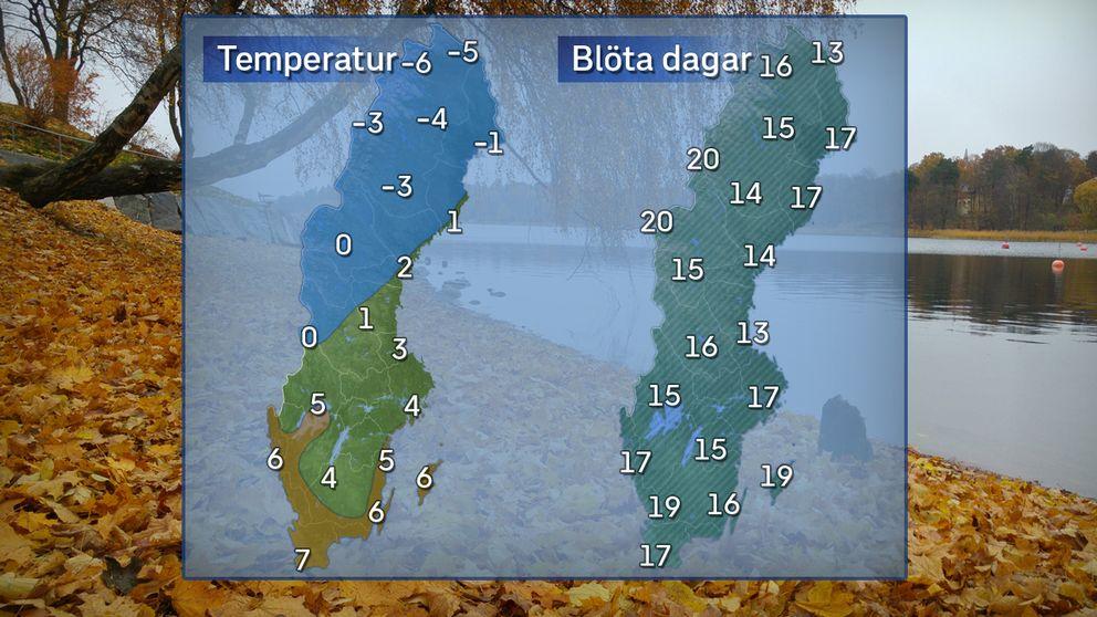 Till vänster: Högsta dagstemperatur en normal novemberdag. Till höger: Normalt antal blöta dagar i november.